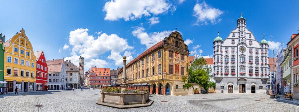 Panorama, Marktplatz, Memmingen, Bayern, Deutschland