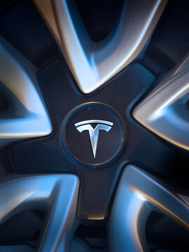 Tesla logo on Tesla Model 3 rim, closeup