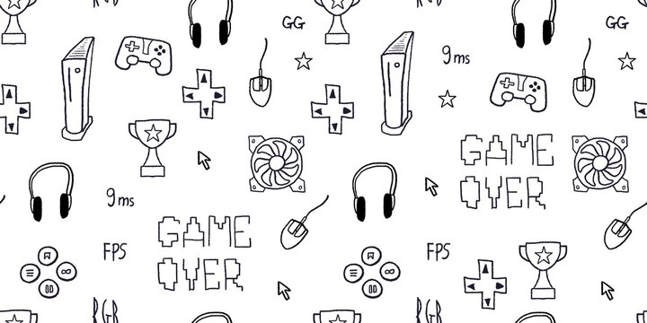Seamless video game doodle pattern