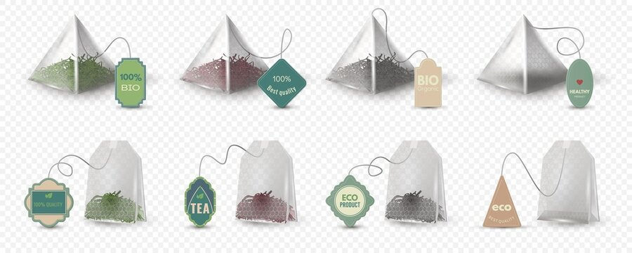 Realistic pyramid and rectangular green, red and black tea bags with tags. Empty 3d teabag mockup with labels for herbal beverage vector set