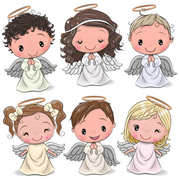Cute Cartoon Christmas angels isolated on white background