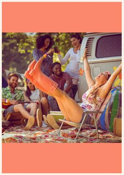 Group of friends having fun together at music festival