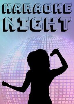 Karaoke night text over silhouette of female singer singing against disco ball on blue background