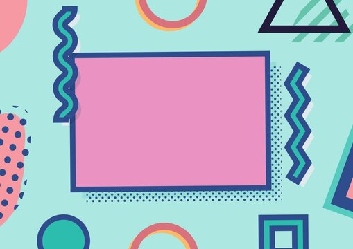 Digitally generated image of pink banner with copy space against abstract shapes on green background