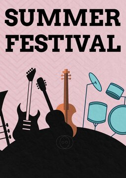 Summer festival text over musical instruments against chevron pattern design on pink background