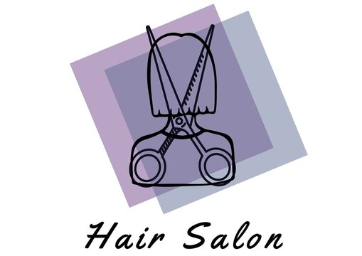 Hair salon text with scissor over a woman icons on a purple banner against white background