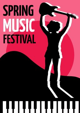 Spring music festival text with female musician holding a guitar icon against pink background