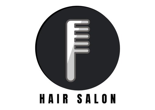 Digitally generated image of hair salon text with comb icon on round banner against white background