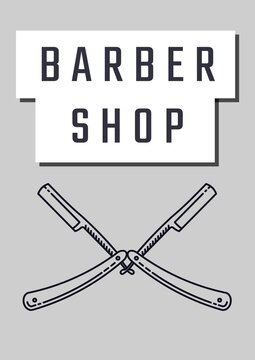 Barber shop text banner with two straight blade razors icons against grey background