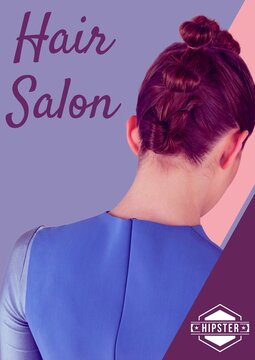 Hair salon text against rear view of woman's hairstyle