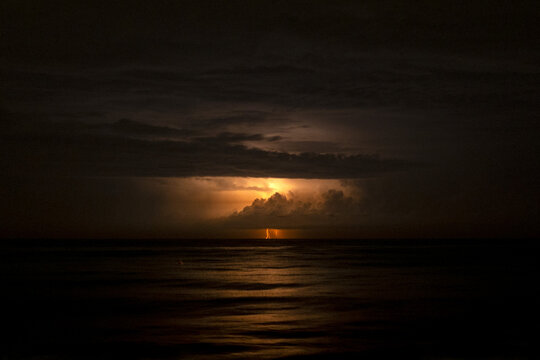 storm and lightning over the black sea