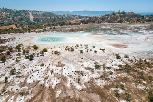 Contaminated surface of abandoned copper mine in Limni, Cyprus. Odd colors and shapes derive from high levels of toxic chemicals