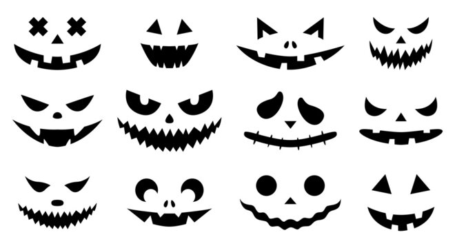 Funny physiognomies. A set of Halloween pumpkins with carved silhouettes of faces isolated on white. A template with eyes, mouths, noses for cutting out jack o lantern. Black White Vector illustration