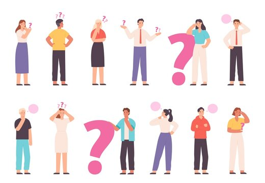 Thoughtful people wondering, solving problem and thinking with question marks. Choice or decision concept with asking characters vector set