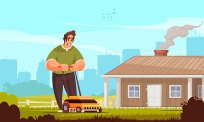 Mowing Lawn Illustration