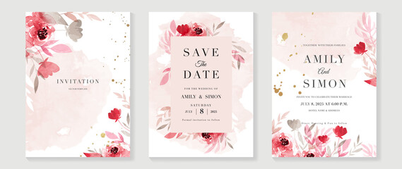Pink and red rose floral watercolor wedding invitation vector set. Luxury background and template layout design for invite card, VIP invitation card and cover template.