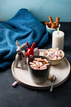 Hot winter chocolate beverages with marshmallow