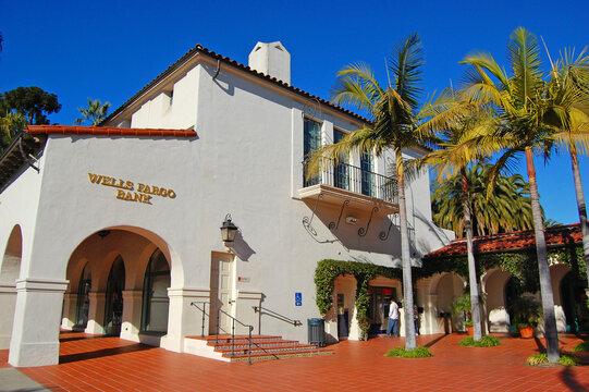 Wells Fargo Bank in a Spanish Colonial style building at 1036 Anacapa Street in historic city center of Santa Barbara, California CA, USA.