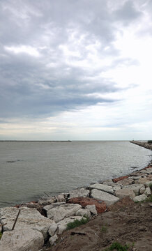 mouth of the Brenta river in the Veneto region in Italy during a rainy day