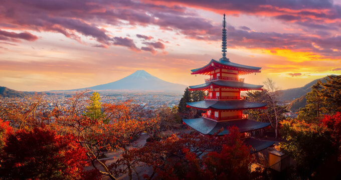 Fuji volcano in Japan. Japanese pagoda on a blue sky background. A pagoda near Fujikawaguchiko town. Autumn landscape near fuji volcano
