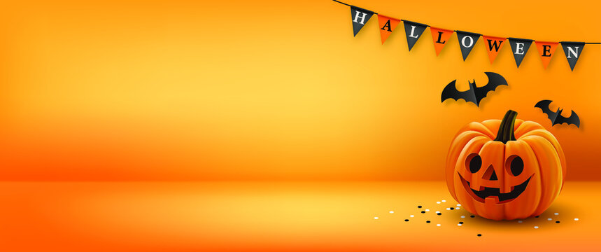 Halloween background with flags, pumpkin and Halloween Elements on orange color background.Website spooky,Background or banner Halloween template.Vector illustration