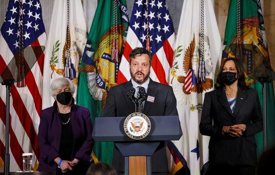 U.S. Vice President Harris and Treasury Secretary Yellen unveil report on childcare at the Treasury Department in Washington