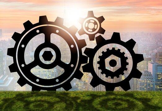 Teamwork concept with cogwheels gears