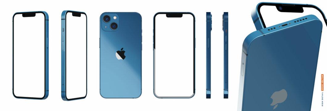 iPhone 13 blue color 3d realistic vector mockup set
