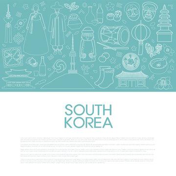 Vector illustration of symbols and landmarks representing South Korea like hanok, hanbok, bibimbap, gayageum, etc. Line art. Template for poster, banner, flyer, or booklet. EPS10