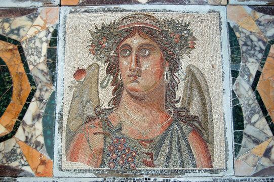 Ancient Roman mosaic representing Autumn