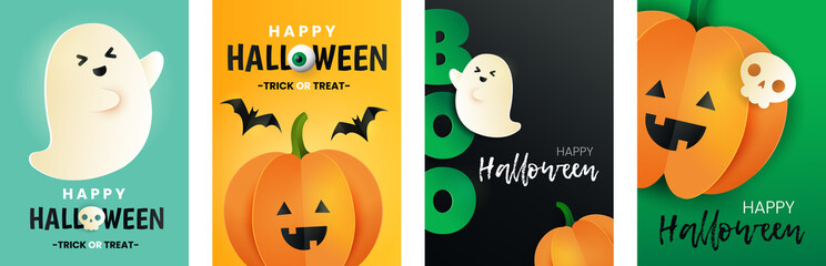 Obraz Happy Halloween set of cards. Inscription boo,pumpkin, bat, skull and ghost in paper cut style. Halloween greeting posters.  - fototapety do salonu