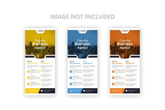 Creative  agency rack card design or dl flyer vector template