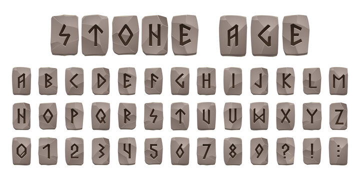 Viking runes stone age alphabet, celtic font with ancient runic signs on grey rock pieces. Abc nordic style scandinavian letters, digits and punctuation signs, futark type symbols, Cartoon vector set