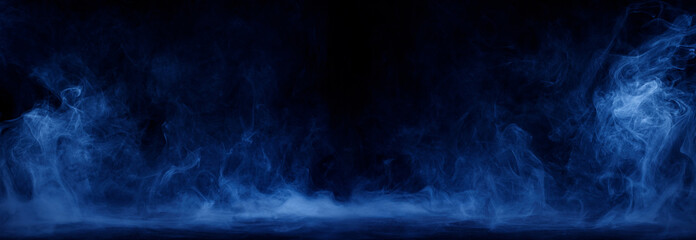 Panoramic view of the abstract fog. White cloudiness, mist or smog moves on black background....