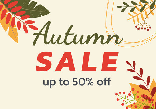 Autumn sale banner with leaf background. Fall discount poster design with leaves. Vector illustration.