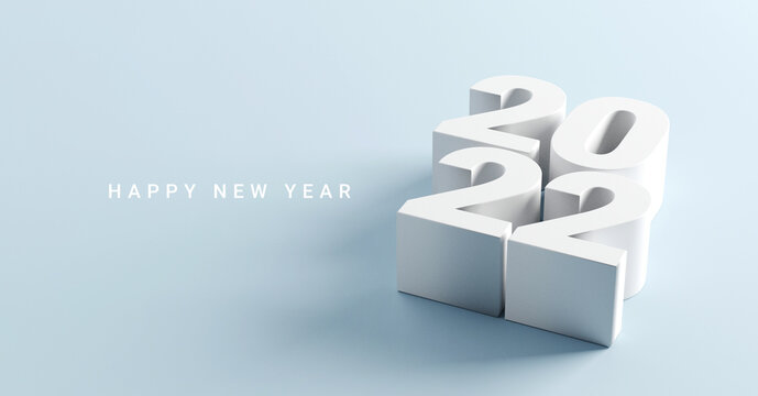 Happy New Year 2022 with 3d numbers on blue background, 3d render