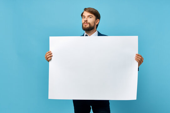 businessmen white paper in the hands of marketing isolated background
