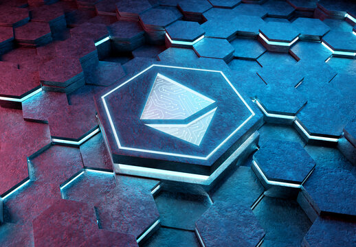 Ethereum icon creativity concept engraved on metal hexagonal pedestral background. Crypto currency symbol glowing on abstract digital surface. 3d rendering