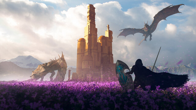 Epic hero elf knight in a purple flowers field fight with two big dragons in defense of a tower castle in beautiful sunlight - concept art - 3D rendering