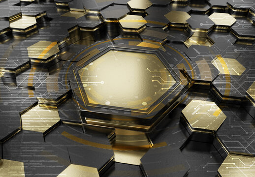 Glowing black and gold hexagons podium background pattern. Hexagonal metal surface with lights. 3D rendering