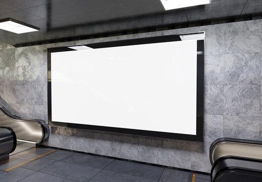 Panoramic billboard on underground subway Mockup. Hoarding advertising hanging on train station interior 3D rendering