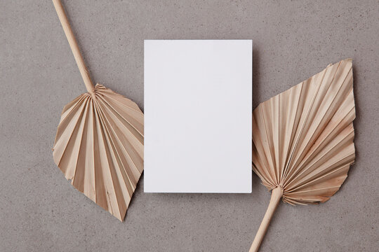 Blank invitation card for a natural wedding or celebration event with dried palm leaf stem