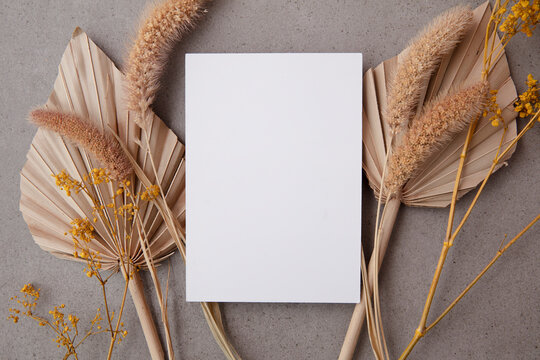 Bohemian blank invitation card surrounded by natural dried palm leaf and grasses. Wedding and celebration background