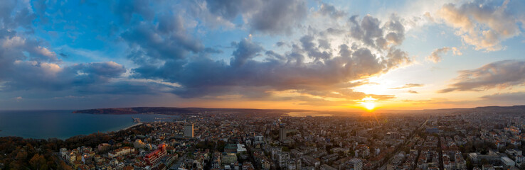 Panoramic view of the amazing sunset sky over the city