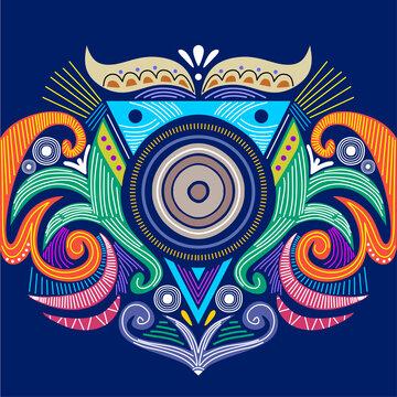 Abstract circular tribal ornament. Ethnic mandala. Stylized sun symbol. Rosette of geometric elements. Tribal ethnic motif. Round blue color background.
