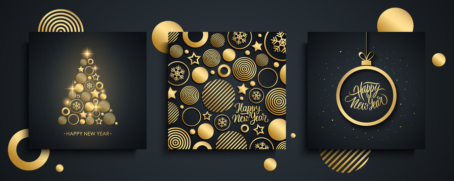 Happy New Year luxury greeting cards set. New Year holiday invitations templates collection with golden christmas tree, hand drawn lettering and gold christmas ball. Vector illustration.