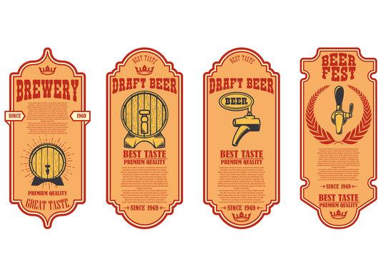 Set of beer labels with illustrations of beer barrel. Vector illustration