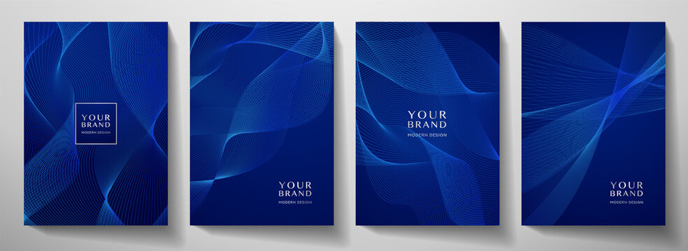 Contemporary technology cover design set. Luxury background with blue line pattern (guilloche curves). Premium vector tech backdrop for business layout, digital certificate, formal brochure template