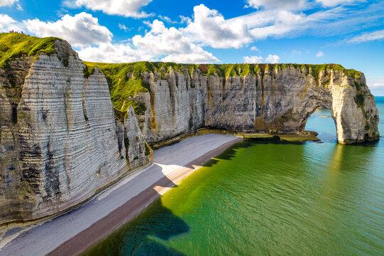 Etretat cliffs aerial shot