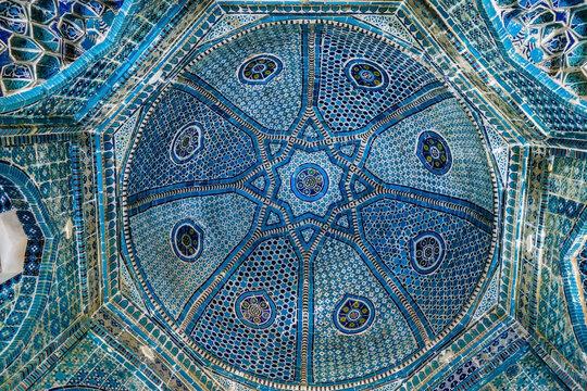 Vault of mausoleum of Shadi Mulk Aga, Amir Timur's niece, is luxuriously decorated with patterns. Building was built in 1372. Historical complex Shah-i-Zinda, Samarkand, Uzbekistan
